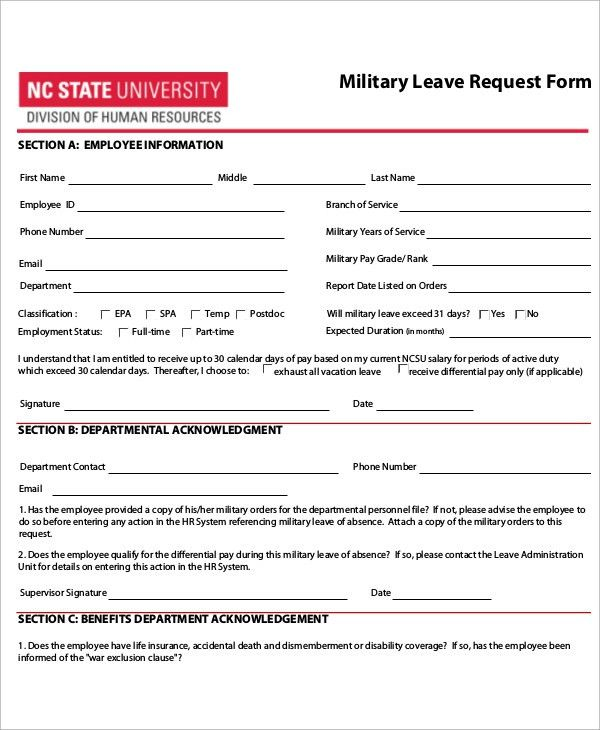 Leave Request Form Template [Template.billybullock.us ]