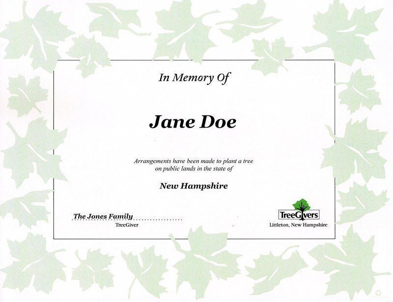 TreeGivers Memorial Tree Planting and Sympathy Gifts