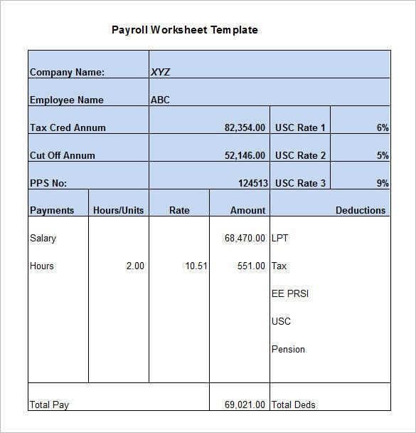 5+ Payroll Worksheet Templates – Free Excel Documents Download ...