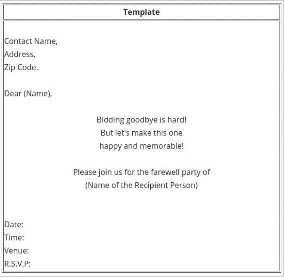 Farewell Party Invitation Email | oxsvitation.com