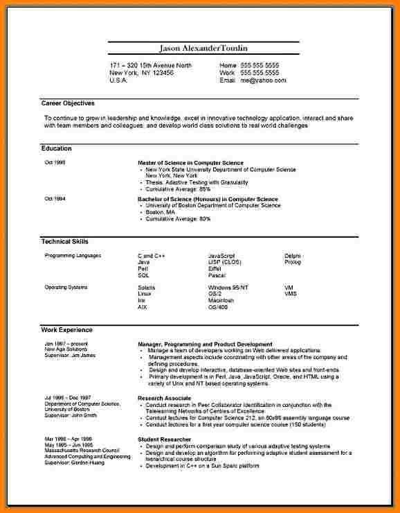 Resume Format On Word