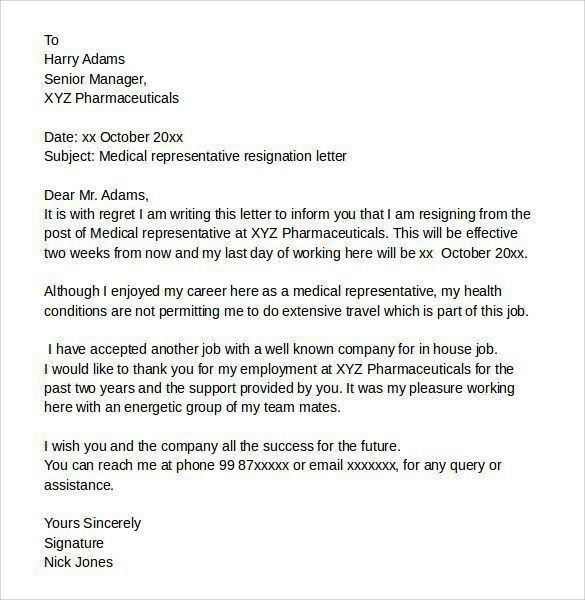 Resignation Letter For Medical. Best Ideas Of Resignation Letter ...