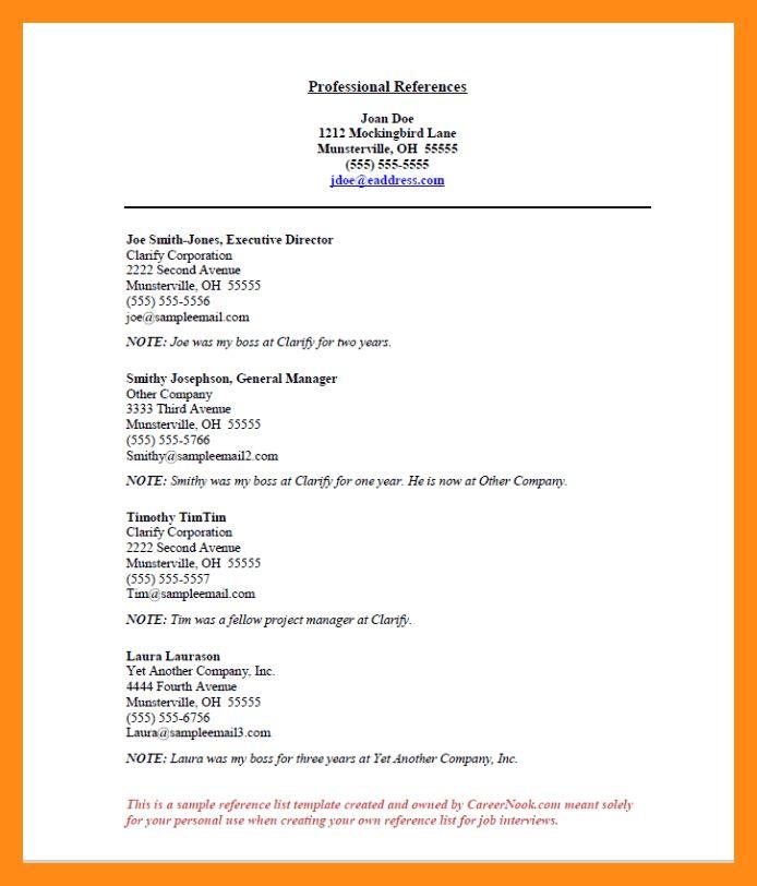 8+ list of references sample   actor resumed
