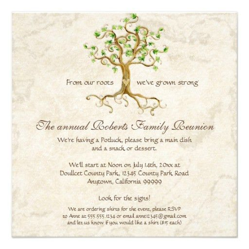 Family Tree Reunion Invitation-+ Card | Family reunion invitations ...