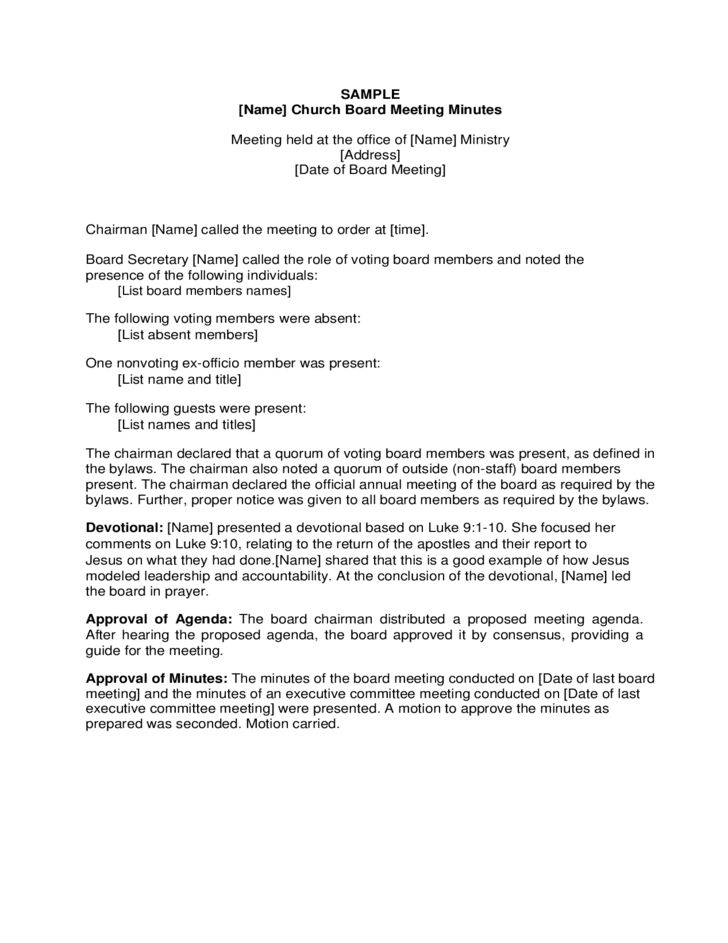 Sample Church Board Meeting Minutes Free Download