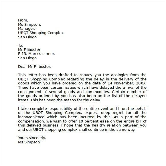 Apology Letter for Being Late - 7+ Download Free Documents in PDF ...