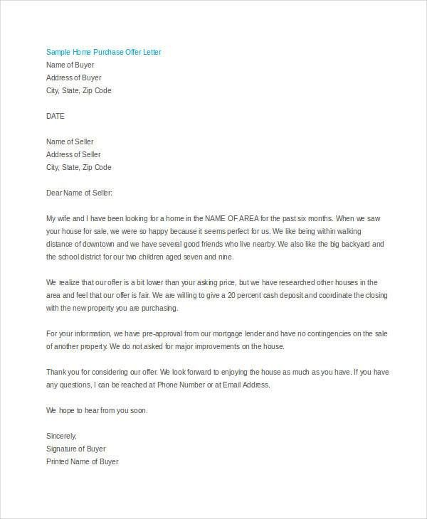 Sample home offer letter