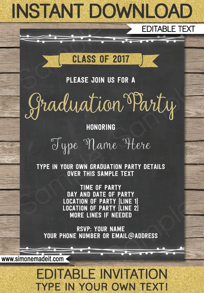 Graduation Party Invitations | Editable and Printable Template