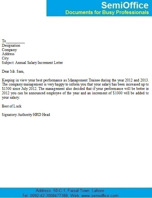formal letter format of salary increase pay increase letter ...