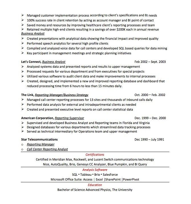 Resume Makeover for Business Analyst Resume — CareerCloud