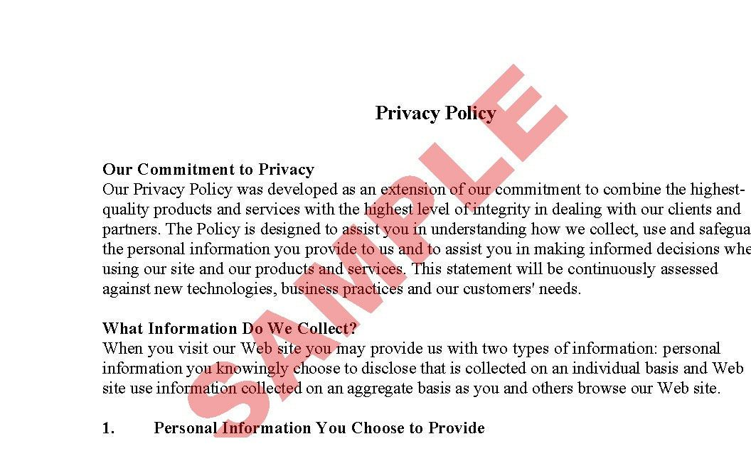 Website Privacy Policy - Sample - Business Forms - E-commerce - SA ...