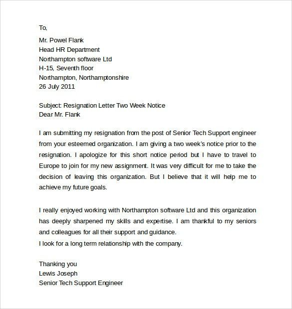 Resignation Letter Format: Sample Engineer Letter Of Resignation ...