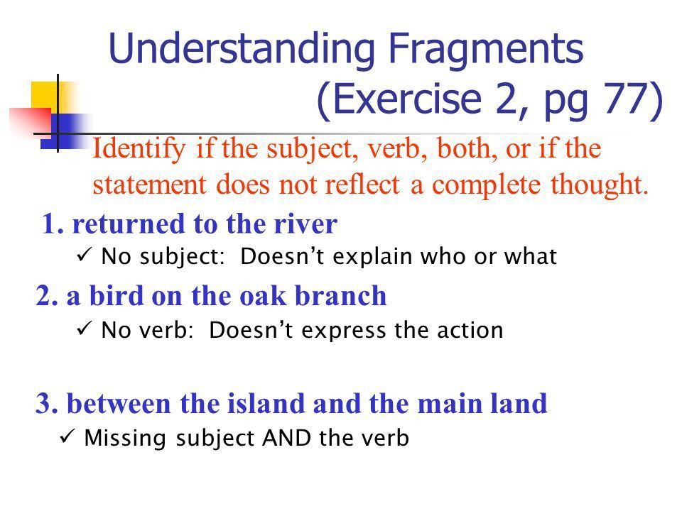Avoiding Sentence Fragments Making Sure Your Sentences Are ...
