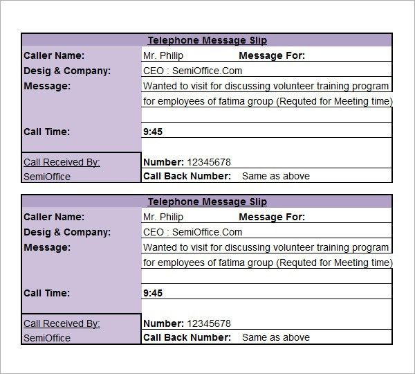 9+ Phone Message Templates - Free Download for Word, Excel, PDF