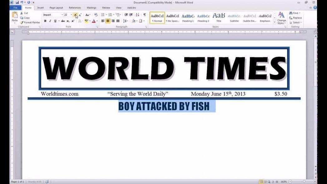 Newspaper Template Microsoft Word Make Default Maxresde ~ Ptasso