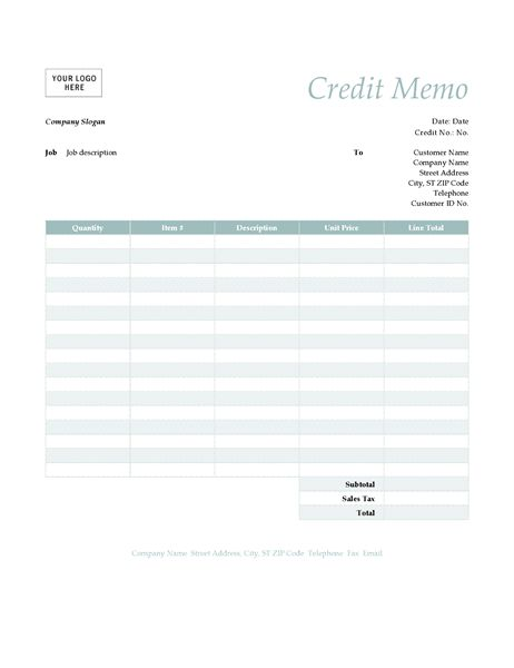 Credit memo (Simple Blue design) - Office Templates