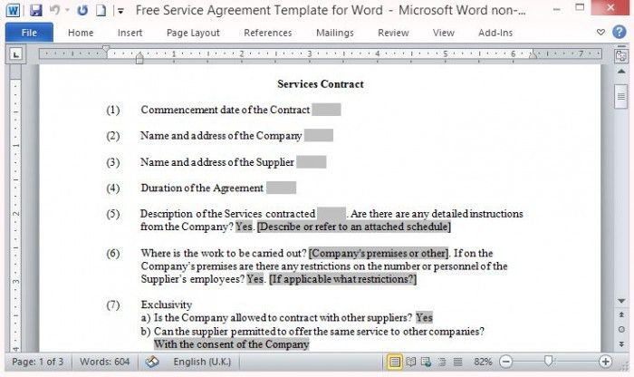 Free Service Contract Template
