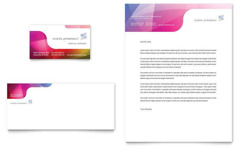 Pharmacy School Business Card & Letterhead Template - Word & Publisher