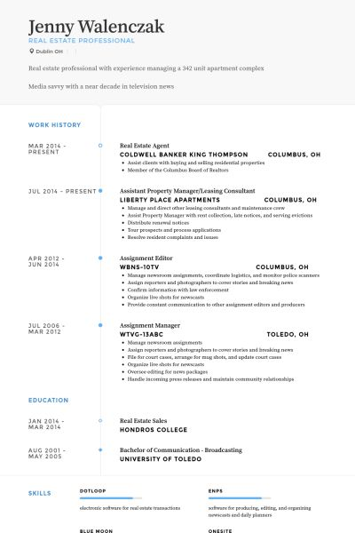 Real Estate Agent Resume samples - VisualCV resume samples database