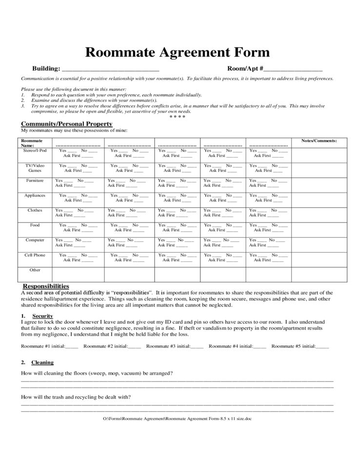 Roommate Agreement Sample Form Free Download
