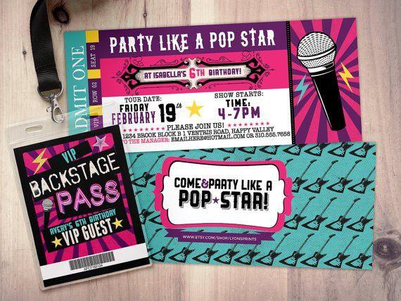 Pop star Rock Star concert ticket birthday party by LyonsPrints ...