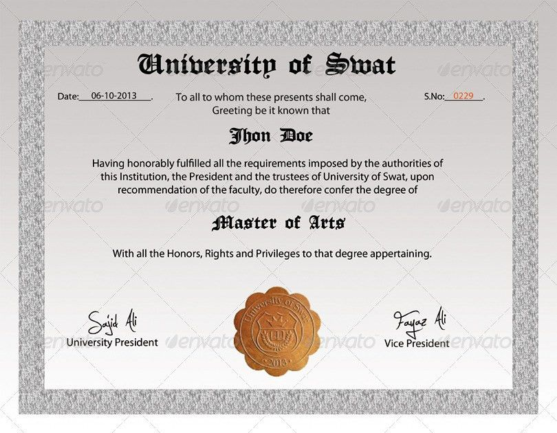 Degree Certificate by Mehrodesigns | GraphicRiver