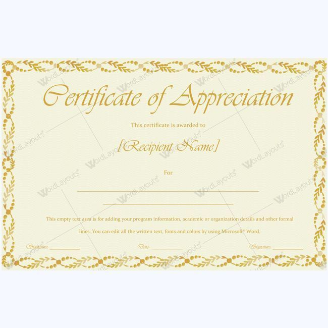 26 best Certificate of Appreciation Templates images on Pinterest ...