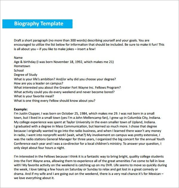 10+ Biography templates - Word Excel PDF Formats