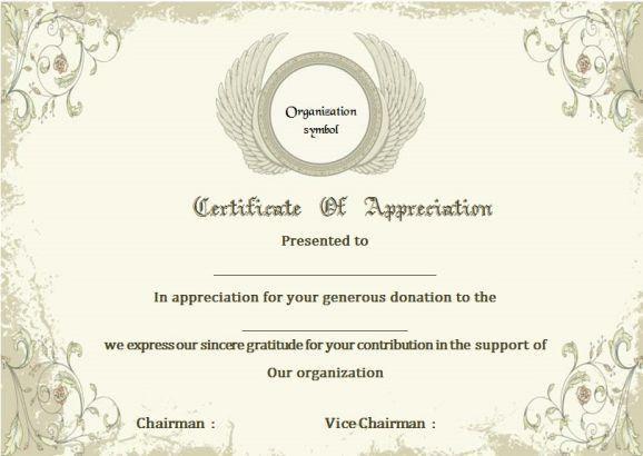 Donation Certificate Of Appreciation Template | Donation ...