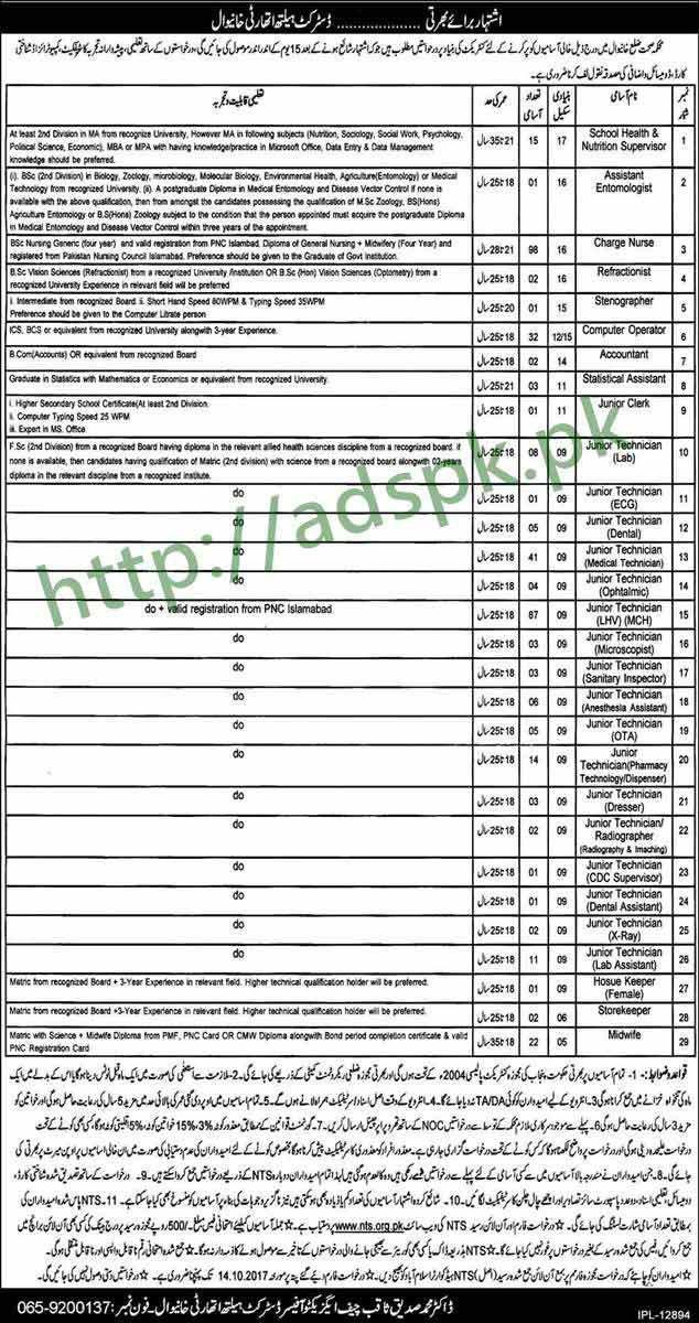 District Health Authority Khanewal Jobs NTS Written Test MCQs ...