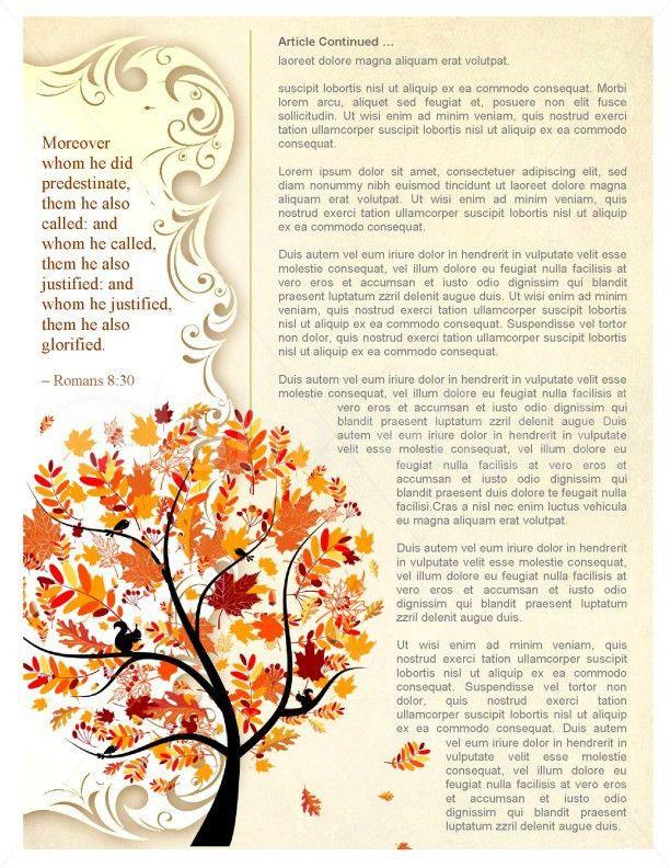 Tree in Autumn Church Newsletter Template Template | Newsletter ...