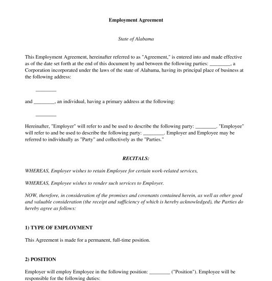 Employment Agreement - Sample, Template - Word and PDF