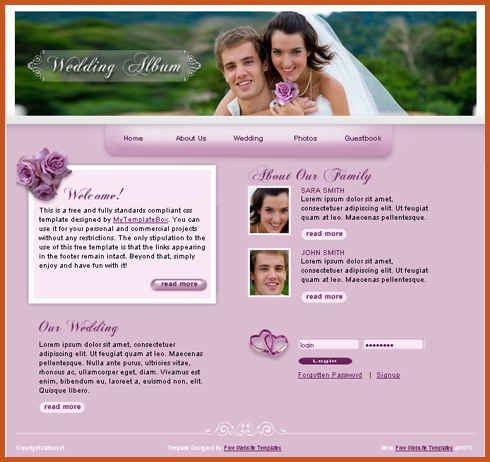 wedding website templates | sop example