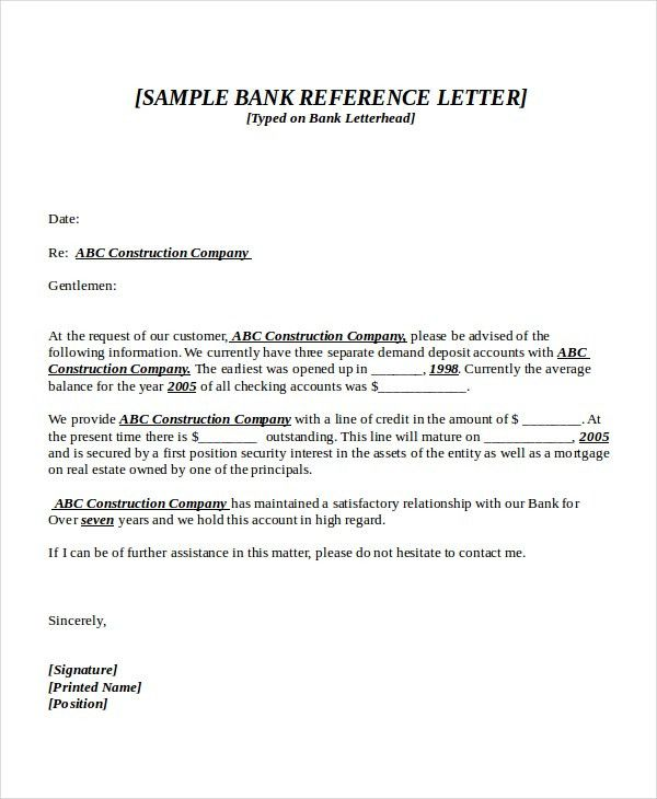 reference letter template free