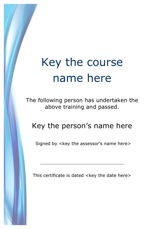 Course training certificate sample in Word and Pdf formats