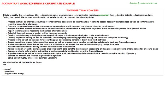 Accountant Work Experience Certificate