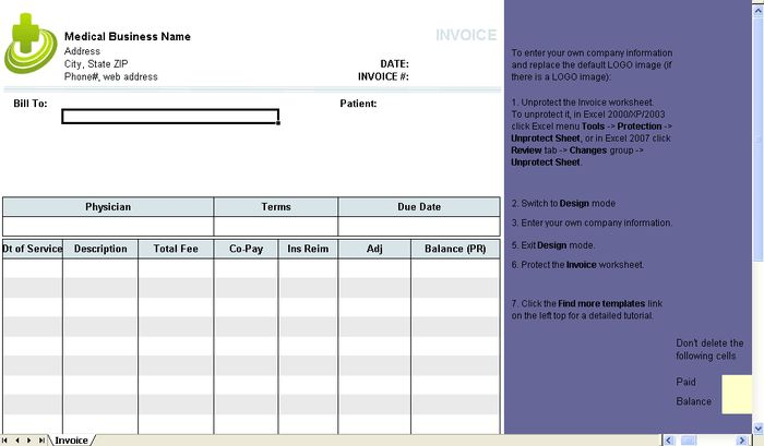 Medical Invoice Template | free to do list
