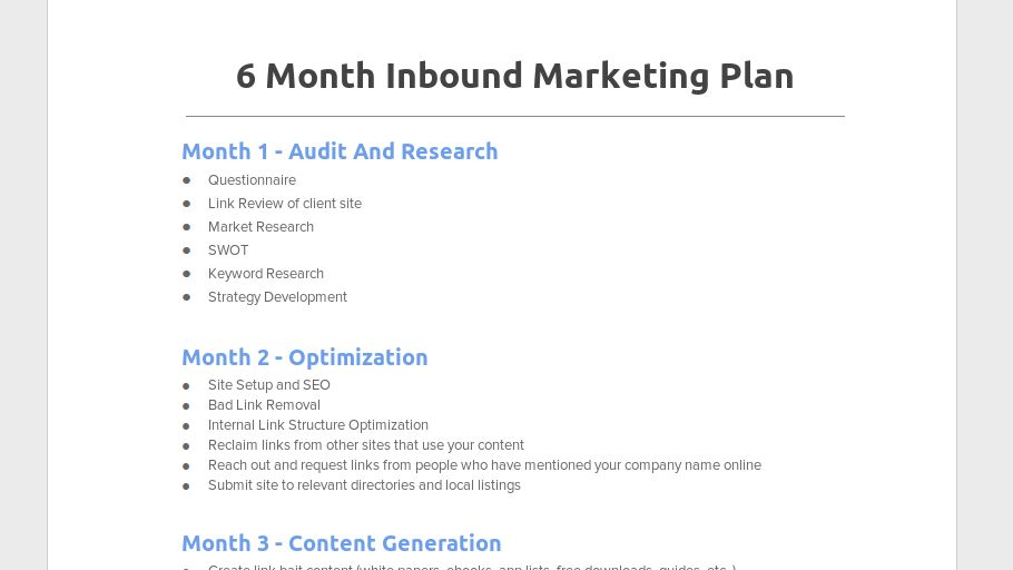 6 Month Inbound Marketing Plan - Chris Steurer