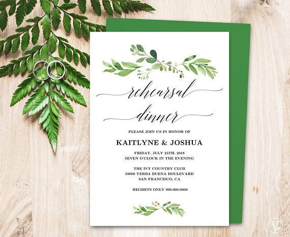 Beautiful greenery printable rehearsal dinner invitation card ...