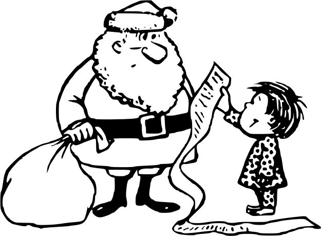 christmas list long lineart - /holiday/Christmas/santa ...