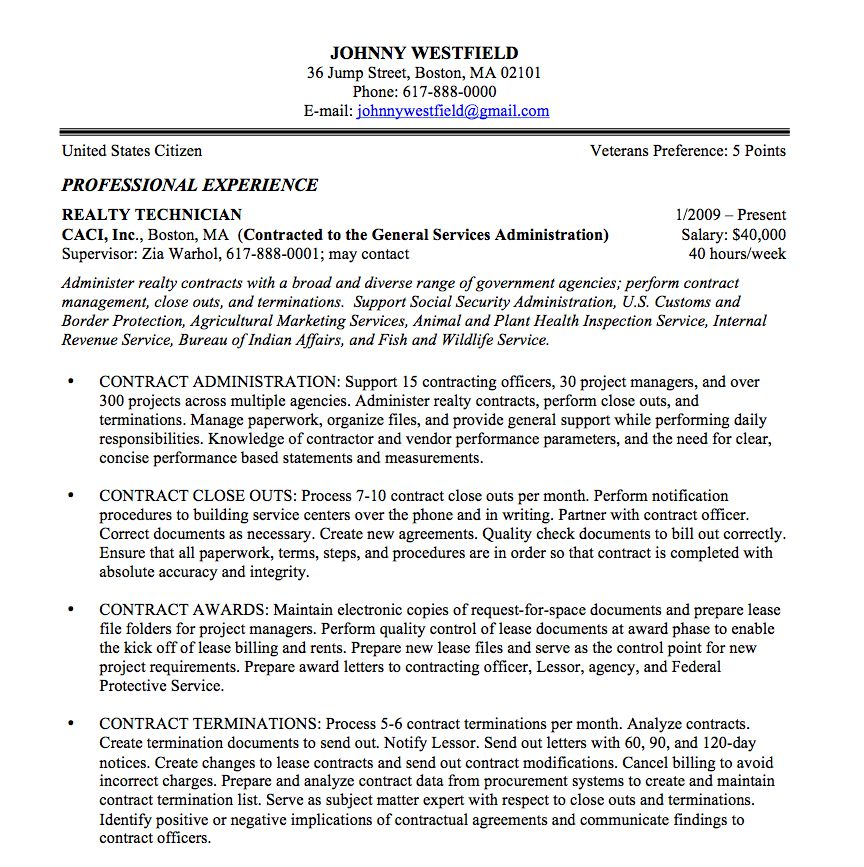 Sample Government Resume   berathen.Com