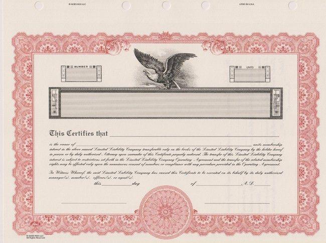 LLC Stock Certificates