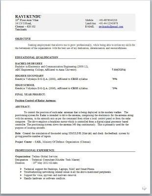 Standard Resume Format For Engineers - Best Resume Example