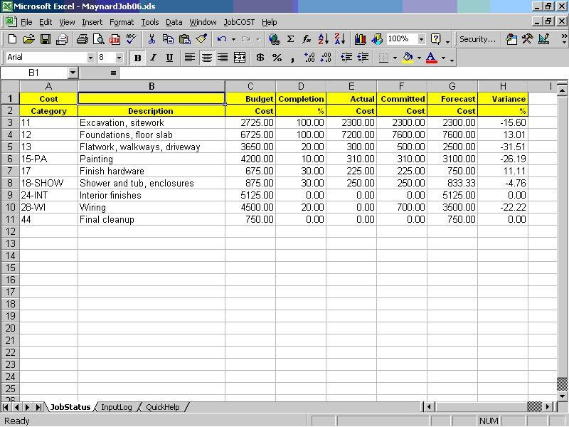 Cost Controller Spreadsheet for Excel