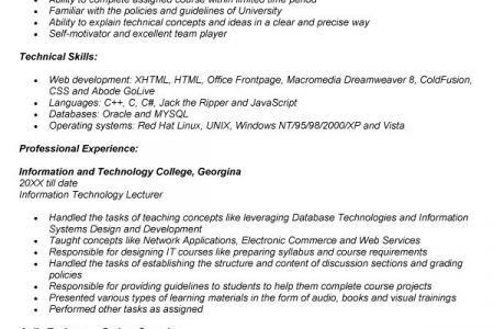 Sample resume for lecturer job in engineering college