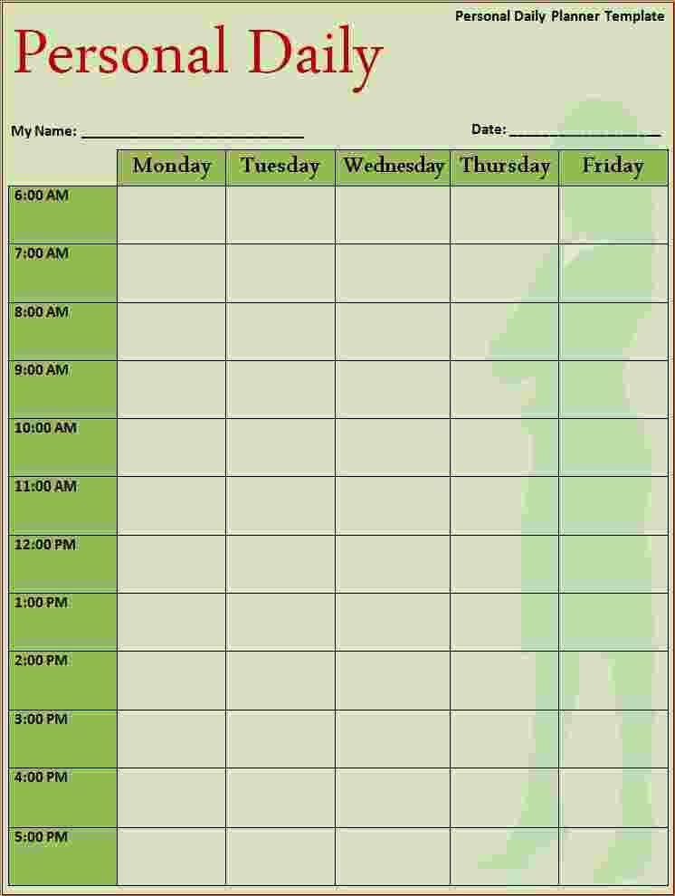 4+ daily schedule planner   Ganttchart Template