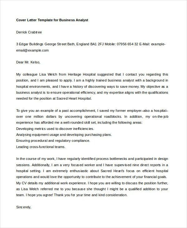 sample cover letter for business analyst winning cover letter 21