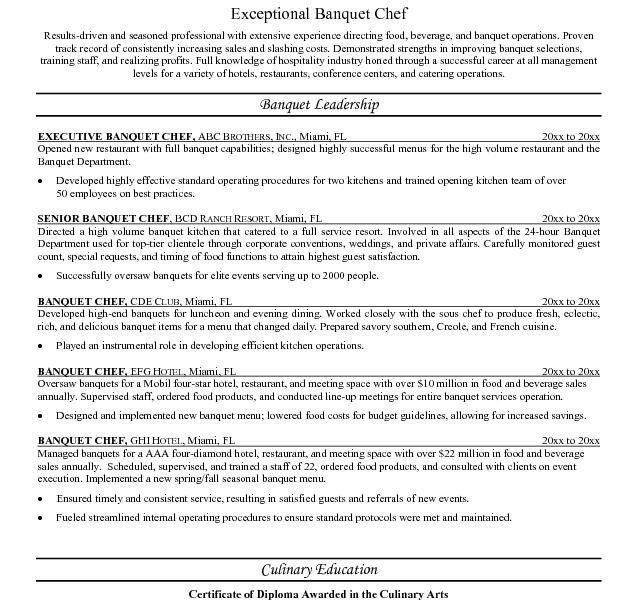 Chef Resume Template. Corporate Head Chef Resume 61+ Executive ...