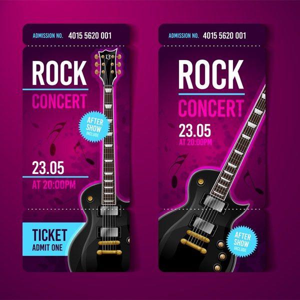 Rock concert tickets template vector 01 - Vector Music free download