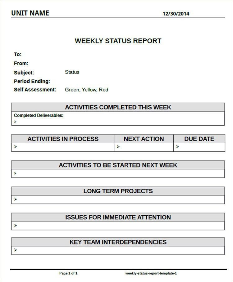 project portfolio status report template